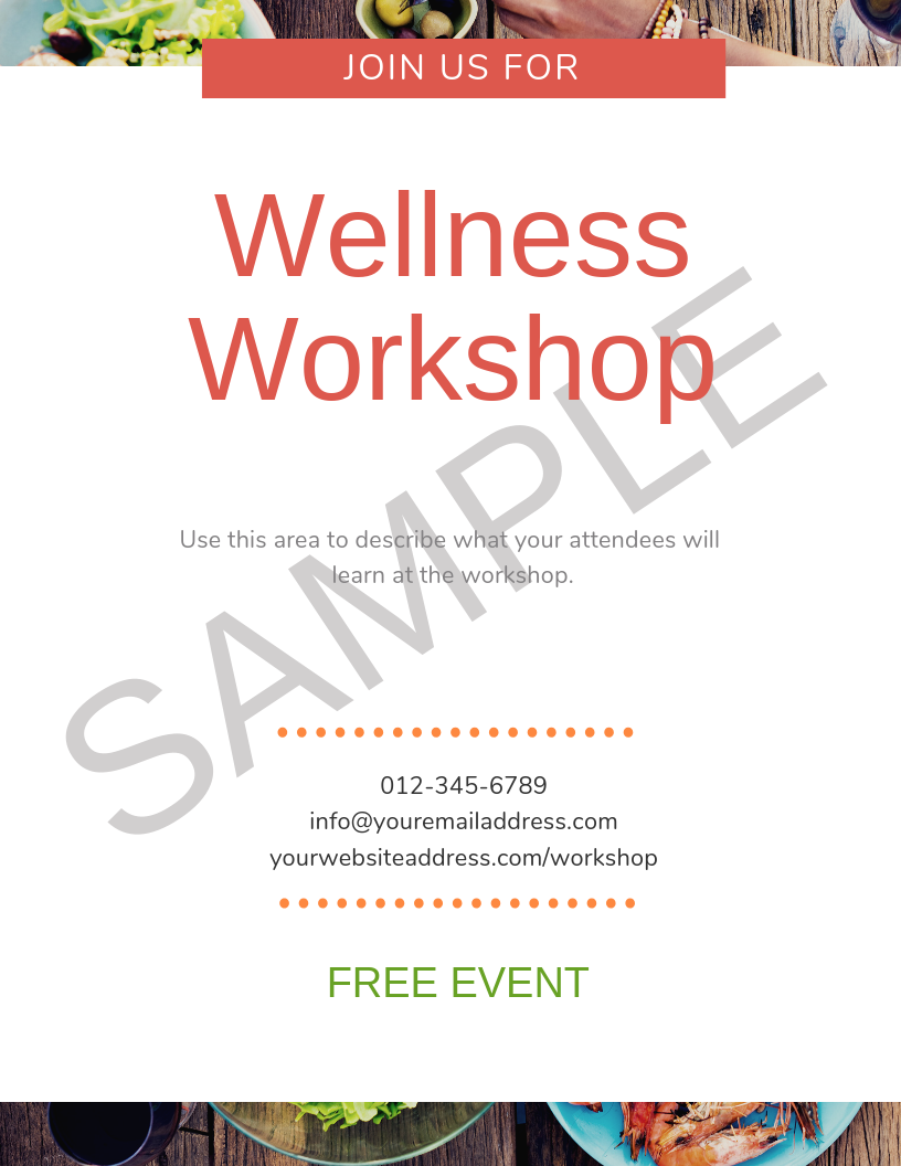 Using Flyers to Promote Wellness Workshops – Whole Family Coaching . Sample flyer for workshop.
